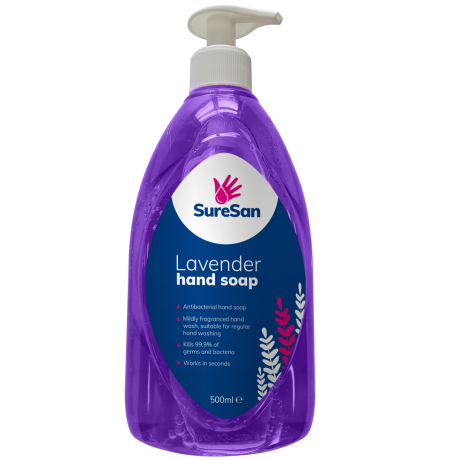 SURESAN ANTIBACTERIAL LIQUID LAVENDER SOAP (500ML BOTTLES)  image