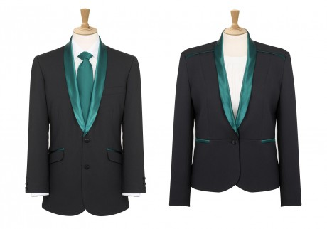 Men's and Ladies dinner jacket with green trim  image