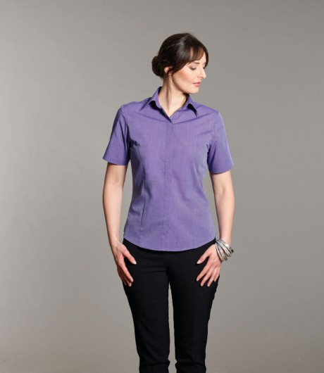 Edie Short Sleeved End on End Blouse  image