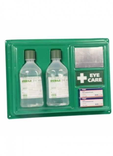 Wall-mounted eye wash station with eye wash bottles  image