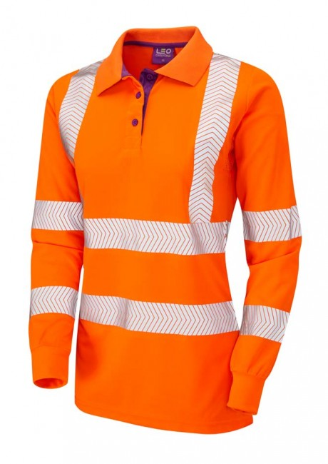 Pollyfield Ladies Sleeved Coolviz Plus Orange Polo Shirt   image