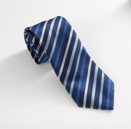 Navy/Silver Striped Tie  image