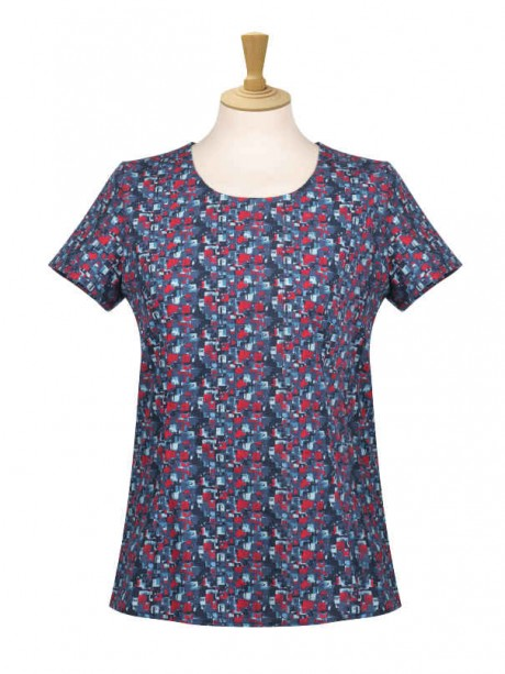 Bordeaux Round Neck Short Sleeve Blouse  image