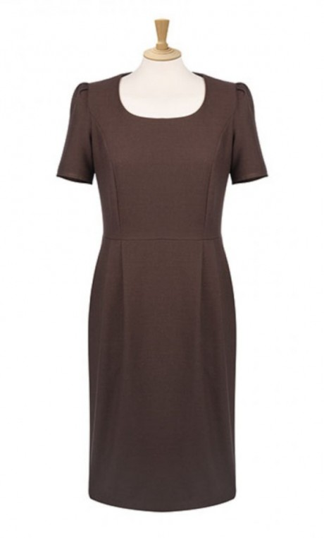 Scoop Neck Shift Dress with Pockets  image