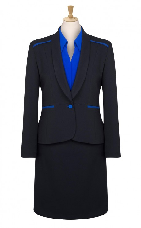 Bespoke Blue Trim Jacket with Skirt  image